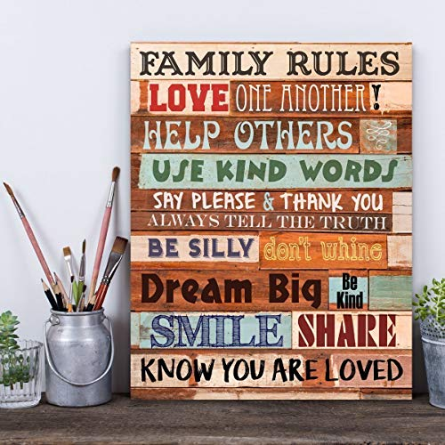 Family Rules - Wooden Style - 11x14 Unframed Typography Art Print - Great Home Decor (Printed on Paper, Not Wood)