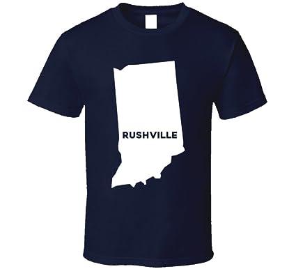 Amazon Com Rushville Indiana City Map Usa Pride T Shirt Clothing