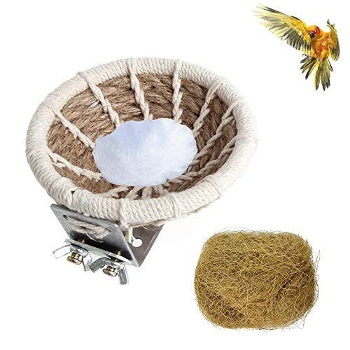 Tfwadmx 2Pcs Handmade Cotton Weave Hemp Rope, Bird Breeding Nest for Parrot Macaw African Grey Budgie Parakeet Cockatiel Conure Finch Hatching Nesting Box