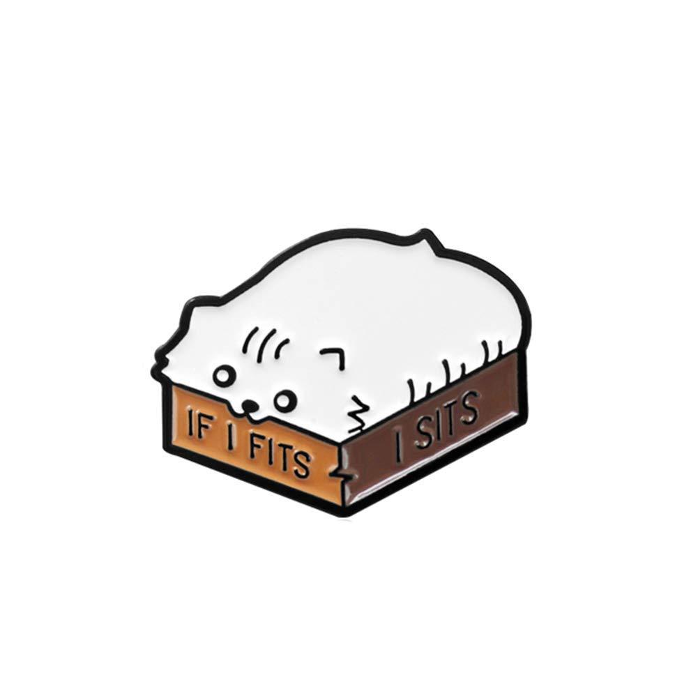 Ogquaton //Broches Cartoon Cat Enamel English Letter Si me Cabe me Sienta Broche Pin Collar Insignia Decoraci/ón
