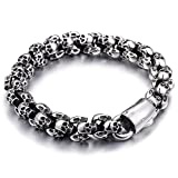 Qiaonitu Biker Bracelet Gothic Skull Stainless Steel Bracelet for Men 8.86 Inches Punk Vintage Jewlery … (Silver)