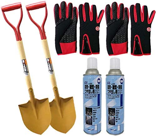 木柄ショベル剣型×2本セット(泥よけ、雪よけ、防サビ用スプレーセット)防寒手袋LL付き