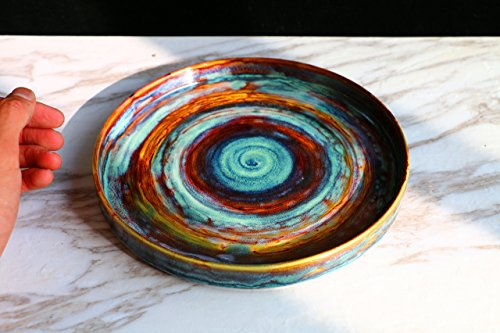 Salad plate, pottery plates, Galaxy plate, Dinner Platter, handmade plate, Serving Plate, unique plate, Serving Platter, wedding gift