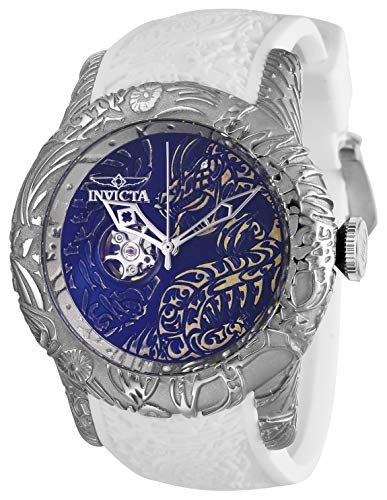 Dragon Wrist Watch White - Invicta Men's S1 Rally Stainless Steel Automatic-self-Wind Watch with Silicone Strap, White, 26 (Model: 26430)