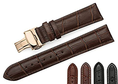 iStrap 18mm Calf Leather Watch Band Strap W/ Rose Gold Steel Push Button Deployment Buckle Brown (Mens Leather Watches Small)