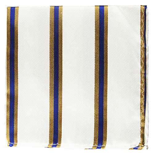 Paul Malone de carré de poche mouchoir 100% soie Bleu rayé