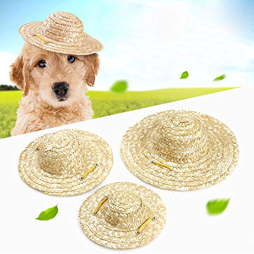 Clluzu Pet Hat Vintage Farmer Jewelry Cat Visor Dog Straw Hat Cute Sunscreen Breathable and Cool