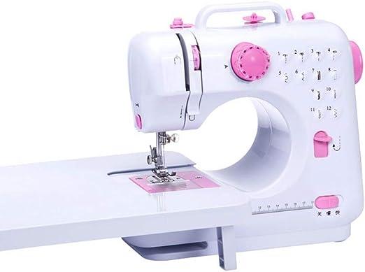 DULPLAY Casa Mimi Máquina de Coser, Electrónica 12 Puntadas incorporados Portátil con luz led Máquina Que acolcha para Todos los Trabajos de Costura -Rosado 25.8x26.5cm(10x10inch): Amazon.es: Hogar