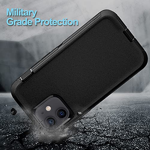 BMBZON for iPhone 12 Mini Case, Heavy Duty Full Body Protective Cover 3-Layer Rugged Durable Shockproof Drop-Proof Phone Case for Apple iPhone 12 Mini 5.4