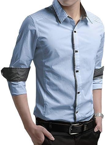 Hombre Manga Larga Slim Fit Camisa Ocio Polos Negocio Camisas Negocios Boda Color Sólido Camisa Formal: Amazon.es: Ropa y accesorios