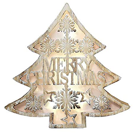Merry Christmas Wooden Light Up Decoration Led Star Or Tree Indoor