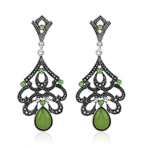 Gem Stone Dangle Earrings Vintage Retro Teardrop Crystal Earrings Hllow Out Earrings for Women Green