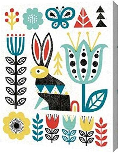 "Folk Lodge Rabbit V2 Teal by Michael Mullan - 10"" x 12"" Gall"