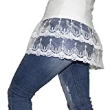 Transwon Layered Skirts Lace Extender for Women Trim Tops Half Slips (4XL, White)