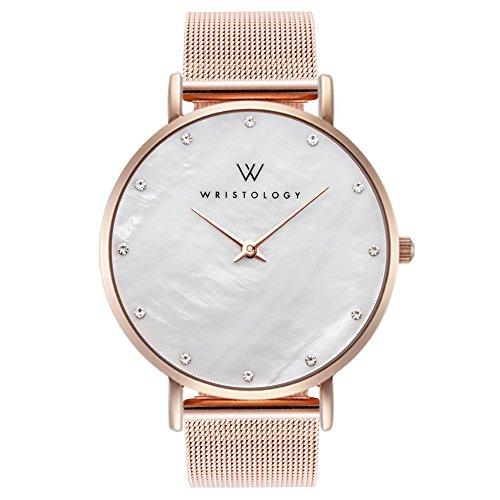 WRISTOLOGY Stella Womens Pearl Rose Gold Boyfriend Watch Matching Metal Mesh Changeable Strap Band (Gold Pearl Watch)