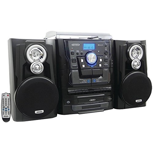 JENSEN JMC-1250 Bluetooth(R) 3-Speed Stereo Turntable Music System with 3-CD Changer & Dual Cassette Deck electronic consumer Electronics branded