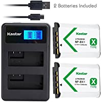 Kastar Battery 2 Pack + LCD Dual Slim Charger for Sony NP-BX1 & Cyber-shot DSC-HX50V HX300 RX1 RX1R RX100 RX100 II RX100M II RX100 III RX100M3 WX300, HDR-AS10 AS15 AS30V AS100V AS100VR CX240 Camera