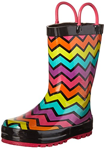 Western Chief Girls Printed Rain Boot, Funny Stripe, 10 M US Toddler (Boots Rubber Western)