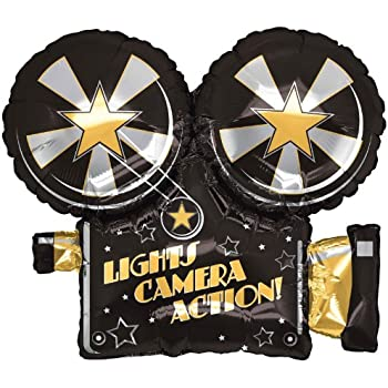 XL 32 Lights Camera Action Movie Super Shape Mylar Foil Balloon Party