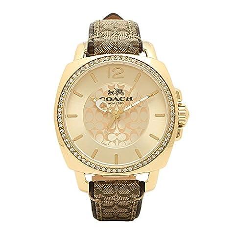 Coach Women's 14502509 Boyfriend Signature Fabric Leather Gold Tone Glitz Watch (Coach Women Gold Watch)