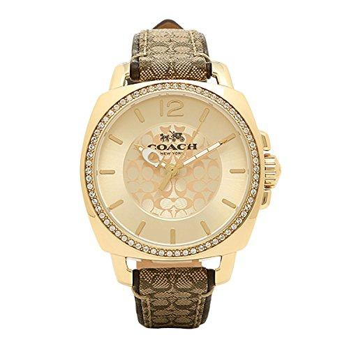 Coach Women's 14502509 Boyfriend Signature Fabric Leather Gold Tone Glitz Watch ()
