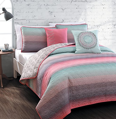 Geneva Home Fashion 5-Piece Cypress Quilt Set, Queen, Coral/Blue (Coral Quilt Set)