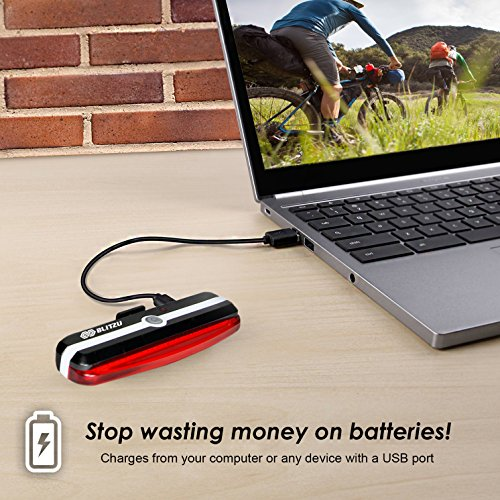 BLITZU Ultra Bright Bike Light Cyborg 168T USB Rechargeable Bicycle Tail Light. Red High Intensity Rear LED Accessories Fits On Any Road Bikes, Helmets. Easy to Install for Cycling Safety Flashlight by BLITZU (Image #3)