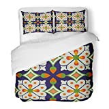 SanChic Duvet Cover Set Colorful Moroccan Vintage Flower Floral Pattern Abstract Royal Yellow Floor Spain Decorative Bedding Set with 2 Pillow Shams Full/Queen Size