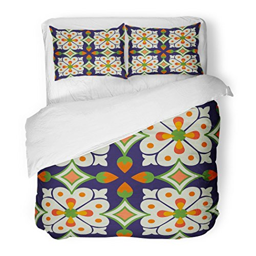 SanChic Duvet Cover Set Colorful Moroccan Vintage Flower Floral Pattern Abstract Royal Yellow Floor Spain Decorative Bedding Set with 2 Pillow Shams Full/Queen Size by SanChic