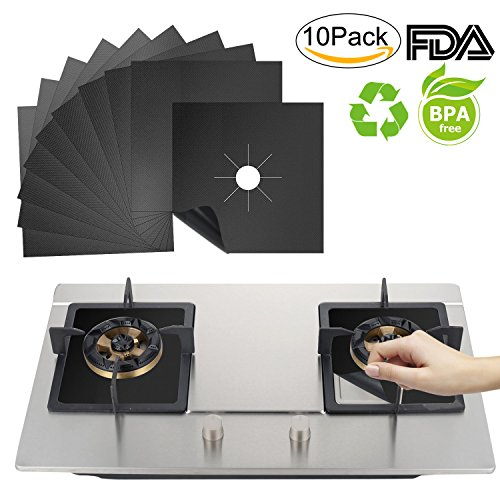 Benewell Stove Burner Covers,Gas Stove Protectors 10 Pack,Non-stick Stovetop Burner Liners Gas Range Protectors for Kitchen- Size 10.7 x 10.7 x 0.01 inches, Cuttable, Easy to Clean,FDA Approved