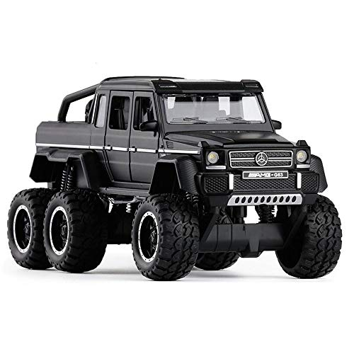 (Bseion Six-Wheeled Big-Footed Off-Road Vehicle 1:32 Alloy Sound and Light Inertia Car Friction Toy Car Children's Birthday Truck Collection Furnishings ( Color : Black ))