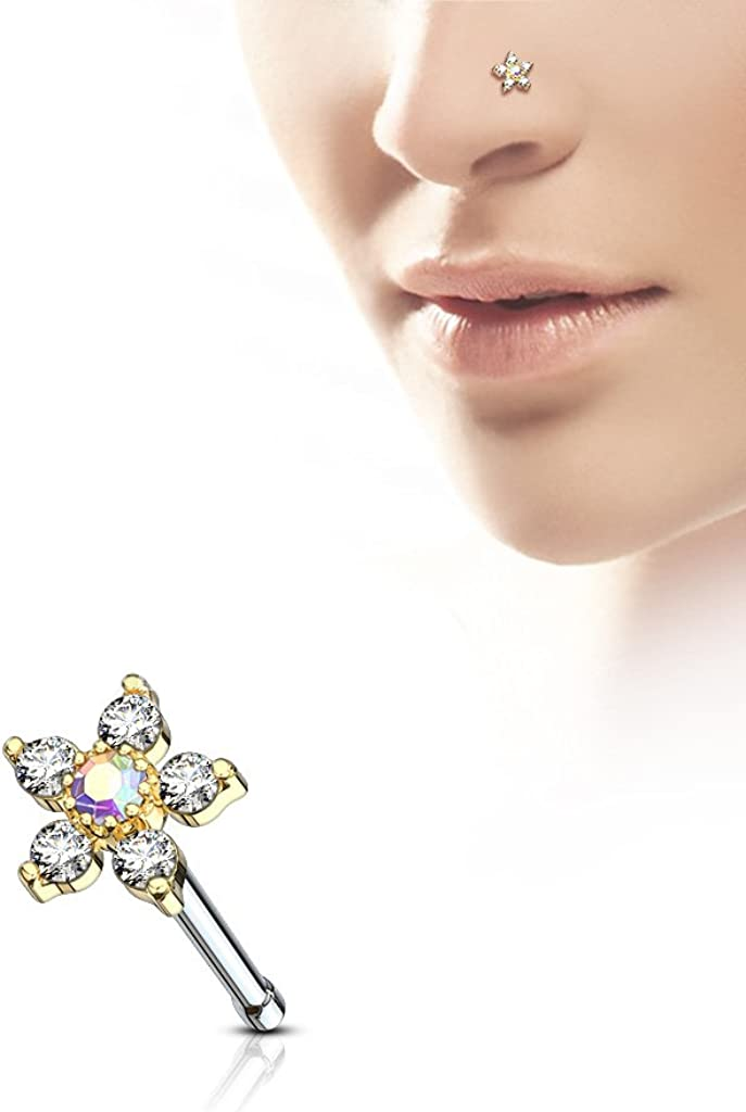 Fifth Cue 20G 6 CZ Flower Top Nose Bone Stud Ring 316L Surgical Steel