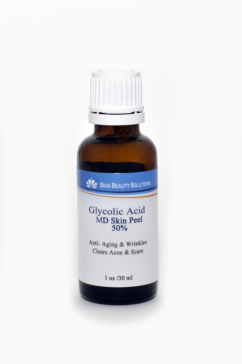 (1 oz / 30 ml) GLYCOLIC Acid 50% Skin Chemical Peel - Unbuffered - Alpha Hydroxy (AHA) For Acne, Oily Skin, Wrinkles, Blackheads, Large Pores & More (from Skin Beauty Solutions)