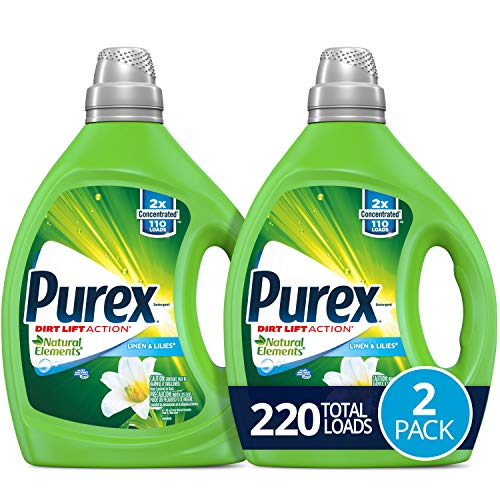 Purex Liquid Laundry Detergent, Natural Elements Linen & Lilies, 2X Concentrated, 220 Total Loads, 82.5 Fl Oz, Pack of 2