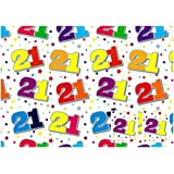 Birthday Wrapping Paper - 2 Sheets Of Gift Wrap & Two Tags - 21st Birthday - SE2608 by Simon Elvin