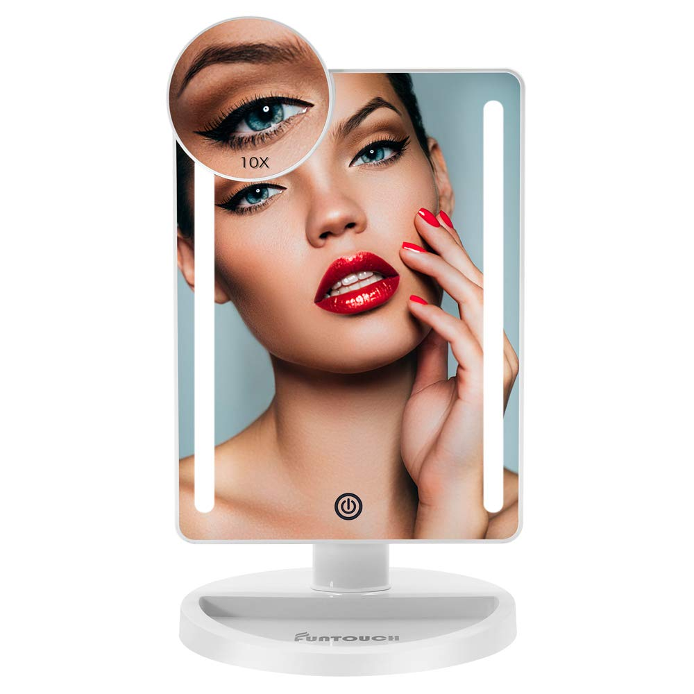 FUNTOUCH Led Lighted Vanity Makeup Mirror Natural LED Lighting Dimmable Auto Off Touch Screen Sensor Dual Power Supply with 10X Spot Magnification 180 Adjustable Countertop Cosmetic Mirror