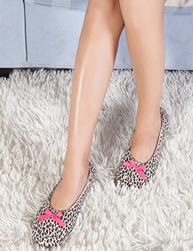 Women Cozy Ballerina Slippers With Leopard Print And Terry Cotton Non-Slip Sole Plush House Slipper Socks Unique Christmas Gift for Her Gift for Mom Birthday Gifts for Women Anniversary Gifts for Her by Soft Kitty (Image #1)