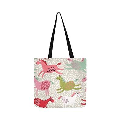 3d59e845898c Amazon.com  Cute Cartoon Horses Bright Colors Canvas Tote Handbag ...