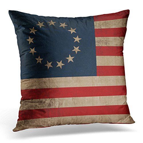 VANMI Throw Pillow Cover Colonial Betsy Ross Vintage Look Early Flag Patriotic Decorative Pillow Case Home Decor Square 16x16 Inches Pillowcase -