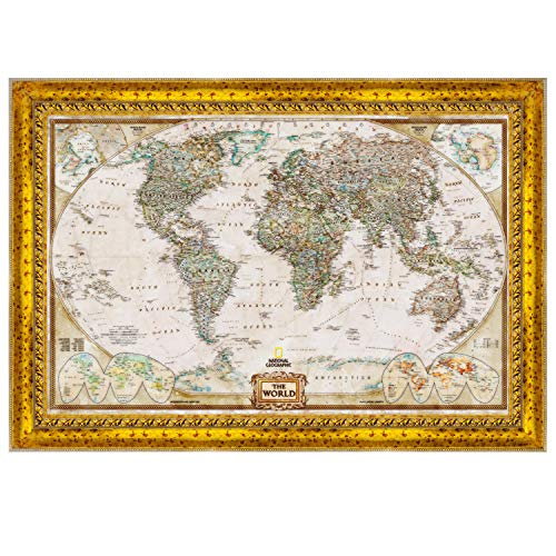 - World Travel Map Wall Art Collection Executive National Geographic World Travel Map Fine Giclee Prints Framed Wall Art with Push Pin, Ready to Hang, 24X36, Watercolor Vintage Gold II