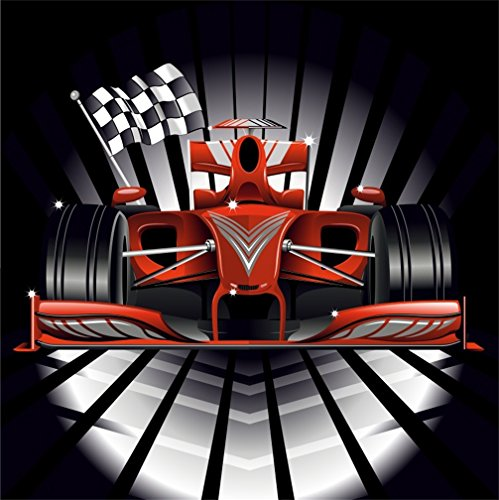 CSFOTO 4x4ft Background for Racing Head with Chequered Flag Photography Backdrop Competition Racing Car Motorsport Race Speed Sport Success Sign Photo Studio Props Polyester Wallpaper