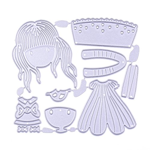 LONG7INES Girl Metal Cutting Dies Stencil for DIY Scrapbooking Album Paper Card Crafts