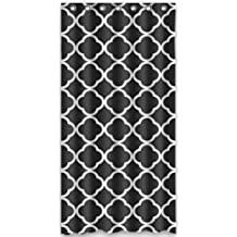 "Custom Unique Design Moroccan Tile Quatrefoil Black and White Lattice Shower Curtains For Bathroom 36""(w) x 72""(h) Inches"