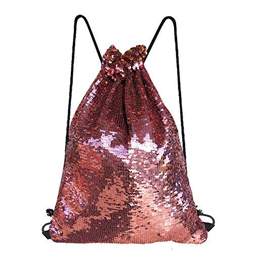Girls Gold Sequin (Alritz Mermaid Sequin Drawstring Bag, Reversible Sequin Backpack Glittering Outdoor Shoulder Bag for Girls Boys Women (Pink/Gold))