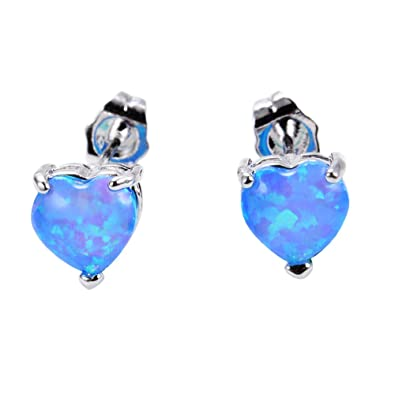 3e0b2ea49 Amazon.com: Adeser Jewelry Girls' White Gold Plated Red Opal Best Friend  Engagement Wedding Heart Cut Earring Studs: Jewelry