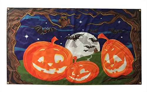 WOWMAR Halloween Flag Pumpkins Spooky Full Moon Night Garden