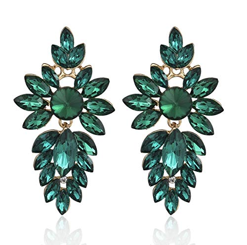 Janefashions Marquise Cluster Clear Forest Green Austrian Crystal Rhinestone Silver or Gold Tone Chandelier Dangle Drop Statement Earrings Studs E9139 (Green/Gold)