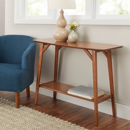 ns Reed Mid Century Modern Console Table, Pecan ()