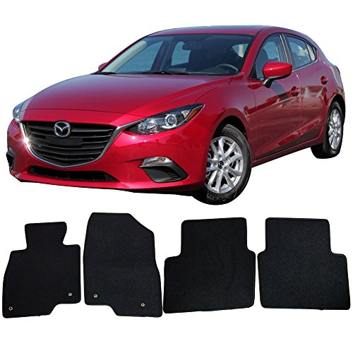 2018 Mazda 3 | OEM Factory Fitment Floor Mats Carpet Front & Rear Black 4PC Nylon by IKON MOTORSPORTS | 2015 2016 2017 (Factory Oem Carpet)