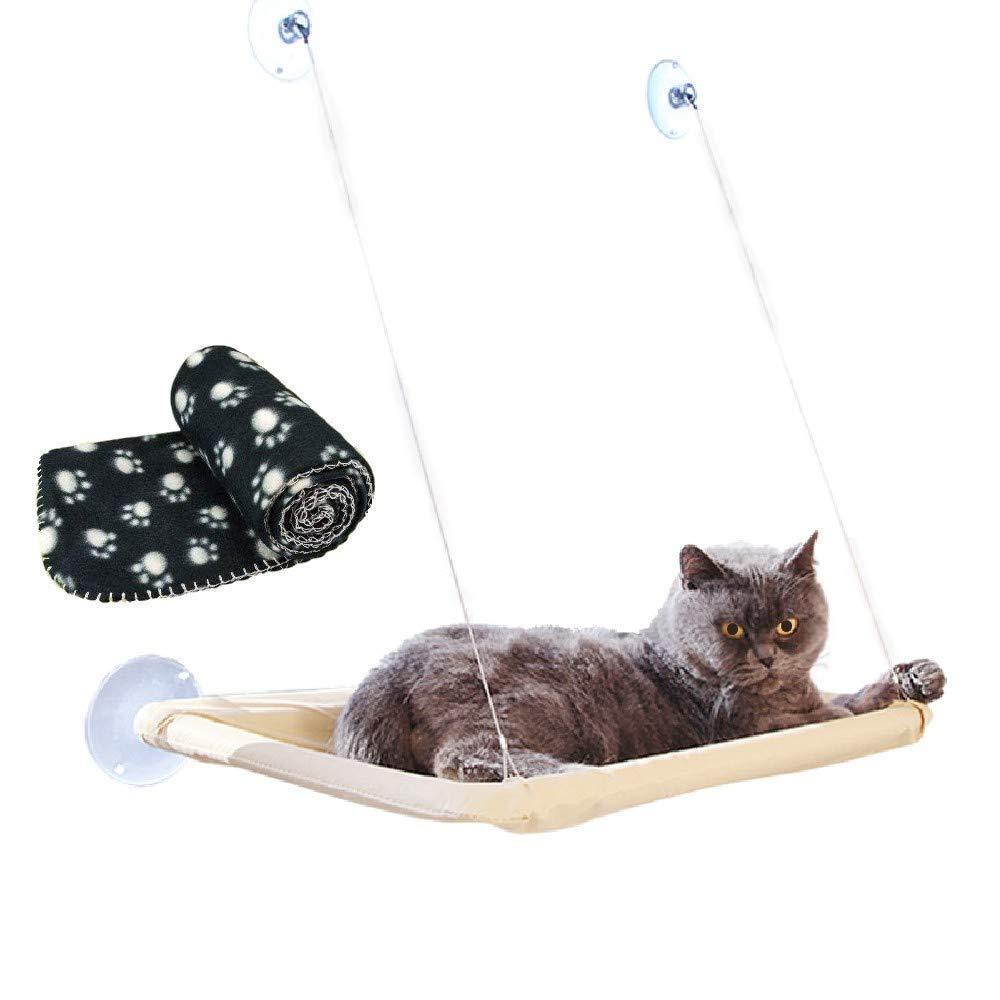 JZK Ventana montada hamaca para gato + manta gato, cama colgante mascota ventosas y manta
